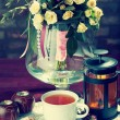 Morning breakfast. Still life of tea and flowers — Stock Photo #68862413