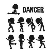 Different dancer poses. — Stockvektor