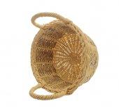 Empty vintage weave wicker basket isolated — Stock Photo