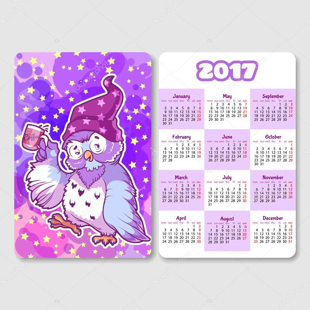 Kalendář na rok 2017 s ospalým sova — Stockový vektor #109781622