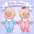 Baby Shower - boy and girl — Stock Vector #53747107