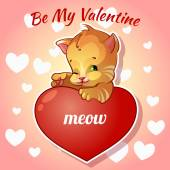 Hübsch rote Katze mit Herzen zum Valentinstag — Stockvektor