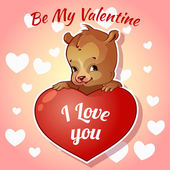 Cute teddy bear for Valentines Day — Stock vektor