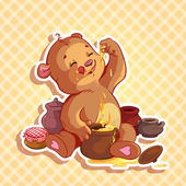 Cute teddy bear eats honey from the pot — Stock Vector