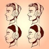 Men with headphones — Stock Vector