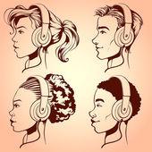 People with headphones — Stock Vector