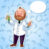 Professor in a white robe with a chemical flask in his hand — Stock Vector