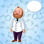 Sad professor in a white robe — Stock Vector