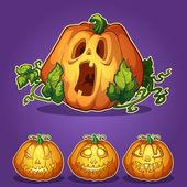 Set of pumpkins for Halloween — Stock Vector