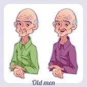 Two old men on a white background — Stock Vector
