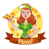 Red-haired girl with pizza — Stockvector