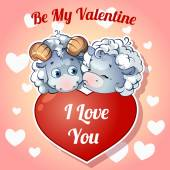 Two cute kissing lamb with hearts for Valentine's Day — Διανυσματικό Αρχείο