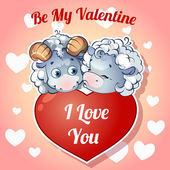 Two cute kissing lamb with hearts for Valentine's Day — Stok Vektör