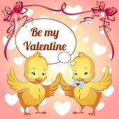 Card for Valentine's Day with two cute chicks — Stock Vector