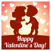 Card for Valentine's Day with two kissing children — Stock Vector