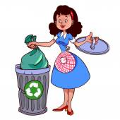Cute housewife in apron throwing garbage — Stock Vector