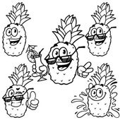 Vector set cartoon character - Happy pineapple. Outline on a whi — Stockvektor