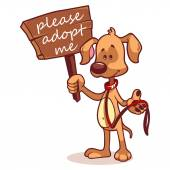 Character dog with a banner - Adopt me — Cтоковый вектор