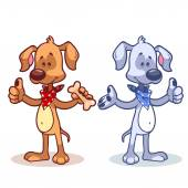 Character dog with a finger up. Vector illustration — Stock Vector