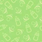 Nahtlose Baby Muster in Grüntönen — Stockvektor