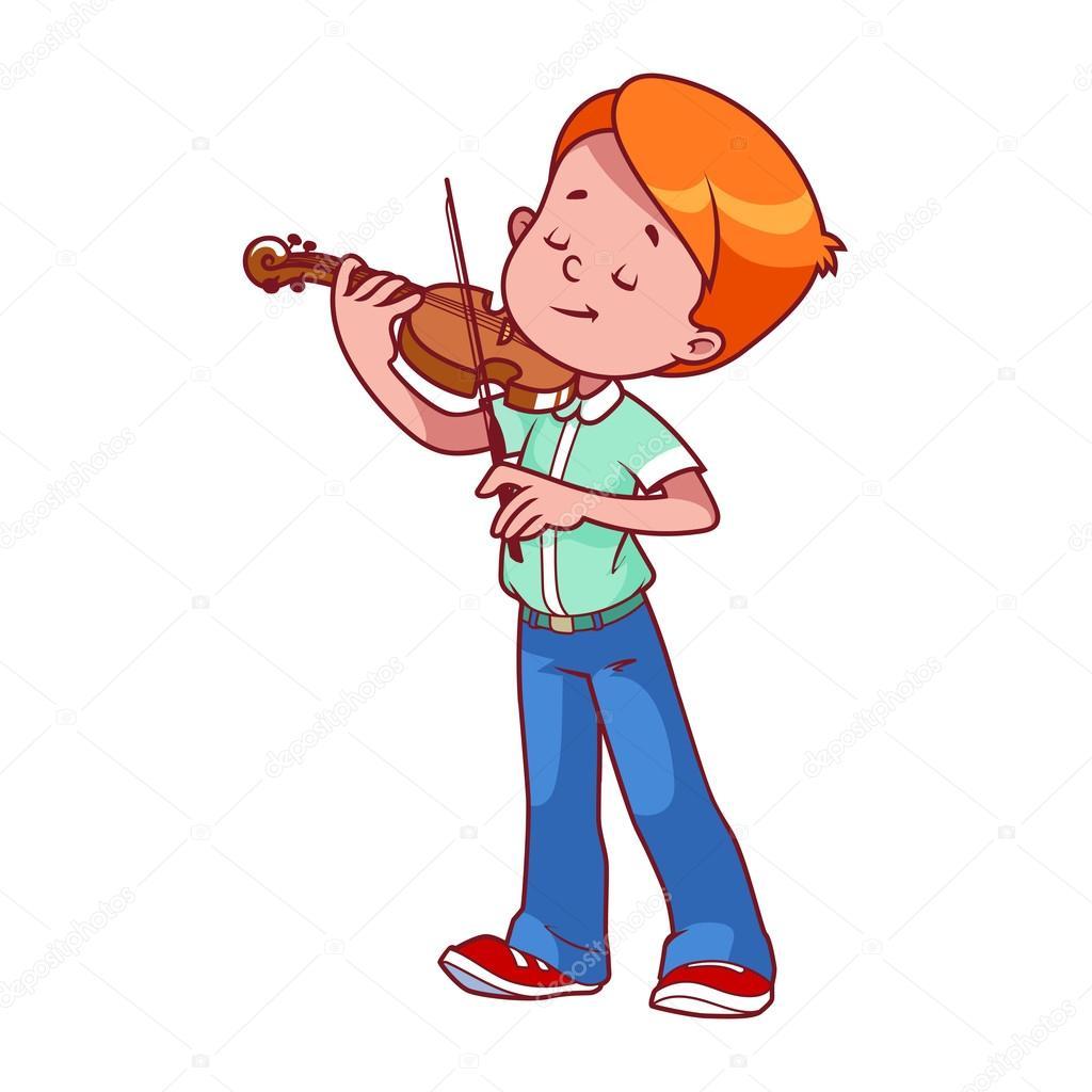 Niño de dibujos animados tocando el violín — Vector de ...