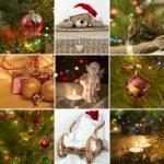 Collage on the theme of Christmas: Christmas toys,Christmas tree — Stock Photo #58198993