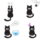 Black cats collection — Stock Vector