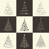 Christmas tree icons — Stock Vector