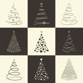 Christmas tree icons — 图库矢量图片