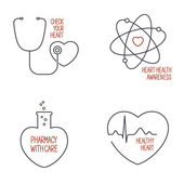 Heart health icons set — Stock Vector