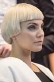 Portrait of beautiful  blond woman at the hair fashion show — Stockfoto