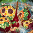 Colorful sunflower style painted Christmas balls set — Stock Photo #54026197