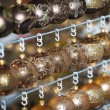 Christmas balls in a row, selective focus — Stock Photo #54026201
