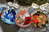 Colorful painted Christmas ball in a row, selective focus — Stock Photo