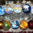 Постер, плакат: Colorful painted Christmas ball in a row selective focus