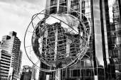 Globe in New York, black and white — Stock Photo