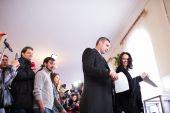 Vitali Klitschko vote in Kiev, Uktraine — Stockfoto