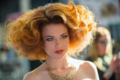Portrait of beautiful woman at the hair fashion show — Foto de Stock