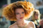 Portrait of beautiful woman at the hair fashion show — Stock fotografie