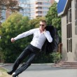Happy Business Man Jumping in Air — Stock Photo #61395123