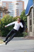 Happy Business Man Jumping in Air — Стоковое фото