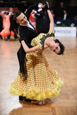 Ballroom dance couple, dancing at the competition — Φωτογραφία Αρχείου