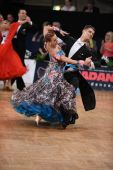 Ballroom dance couple, dancing at the competition — Stok fotoğraf