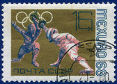 Olympic games Stamp with Fencing — Stock Photo