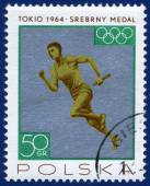 Olympic games Stamp with Race — Stock Photo