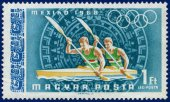 Olympic Games  stamp with oarsmen — Foto Stock