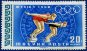 Olympic games Stamp with Swimmers — Stockfoto