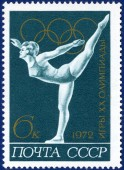 Olympic games  stamp with gymnast — Foto Stock