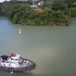 Постер, плакат: Tug boat in harbor at Panama canal