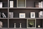 Modern dark shelves — Stock Photo